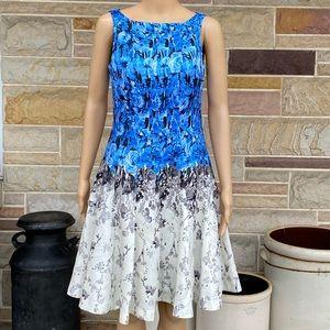 J. Taylor Ombré Floral Pattern Fit 'N Flare Dress
